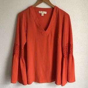 Michael Kors Orange V Neck Blouse Bell Sleeve Sz S